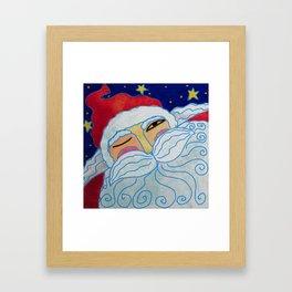 Funky Santa Claus Portrait Abstract Digital Painting  Framed Art Print