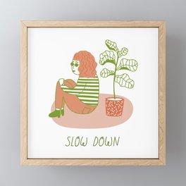 Slow Down Girl Framed Mini Art Print