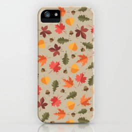 Autumn Leaves Pattern Beige Background iPhone Case