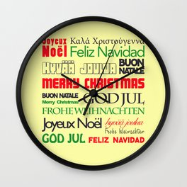 merry christmas in different languages I Wall Clock