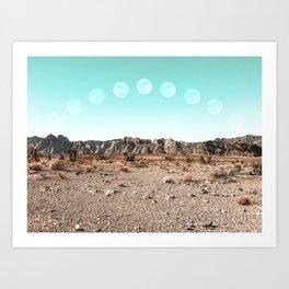 Desert Daylight Moon Ridge // Summer Lunar Landscape Teal Sky Red Rock Canyon Rock Climbing Photo Art Print