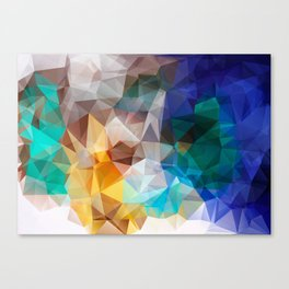 Blue yellow turquoise polygon Canvas Print