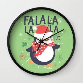 Fa la la penguin Wall Clock