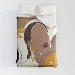 African American Art, Leaf Girl Print, Black Woman Wall Art, Black Girl Print, Fashion Print Comforters