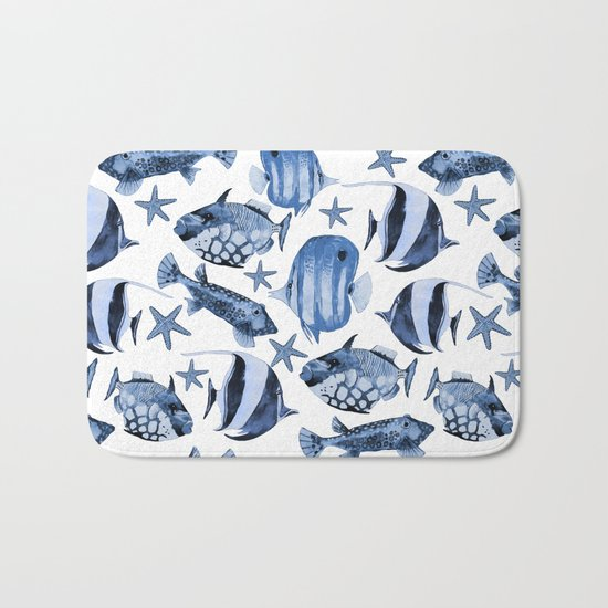 Fish underwater watercolor allover pattern Bath Mat