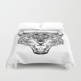 LEOPARD head. psychedelic / zentangle style Duvet Cover