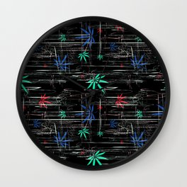 Colorful Marijuana Leaves and Scratches Wall Clock