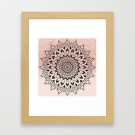 Boho black watercolor floral mandala rose gold glitter ombre pastel blush pink Framed Art Print