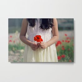 Poppy in the hands Metal Print