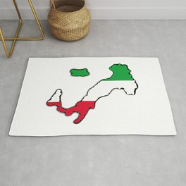 Italy Map with Italian Flag Rug