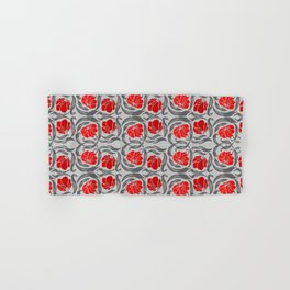 William Morris Pimpernel, Silver Gray and Red Hand & Bath Towel