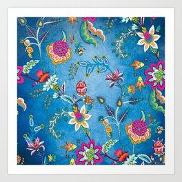 Blue Lapis Velvet Texture Chintz Multicolour Bohemian Floral Pattern Art Print