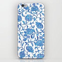 Blue Flowers on White by Fanitsa Petrou iPhone Skin