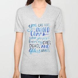 My Beloved Oxford Comma - Blue Lettering Unisex V-Neck