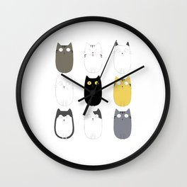 Meow! Funny cute cats gift idea for kitten lovers Wall Clock