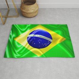 Brazil Flag Waving Silk Fabric Rug