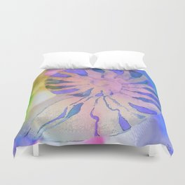 NAUTILUS SEA SHELL BLUE AND PURPLE IMPRESSIONS Duvet Cover