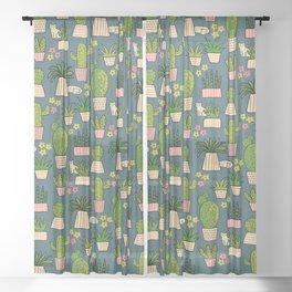 Cactus Cat Blue Garden Sheer Curtain