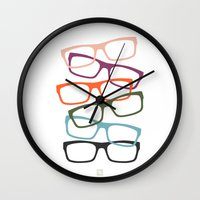 frames Wall Clocks featuring Stacking Frames by Tavia Lawrence