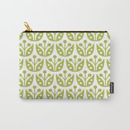 Mid Century Modern Flower Pattern 731 Olive Green Carry-All Pouch