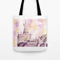 hogwarts Tote Bags featuring hogwarts by impalei