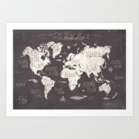gray Art Prints featuring The World Map by Mike Koubou