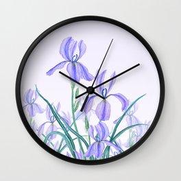 purple iris watercolor Wall Clock