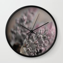 Pretty Pink Grey Lavender Flower Wall Clock