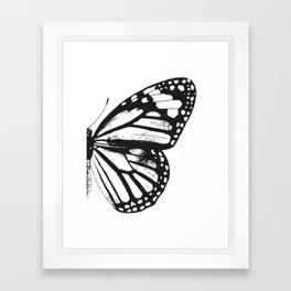 Monarch Butterfly | Right Butterfly Wing | Vintage Butterflies | Black and White | Framed Art Print