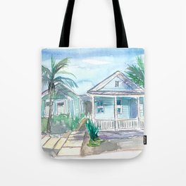 Key West Conch Dream House-Blue and Pastel Homes Tote Bag