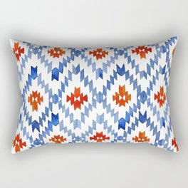 blue rhombus balinese ikat Rectangular Pillow