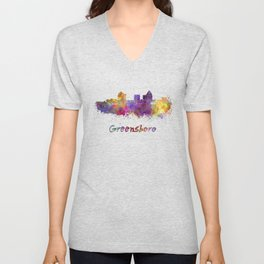 Greensboro skyline in watercolor Unisex V-Neck