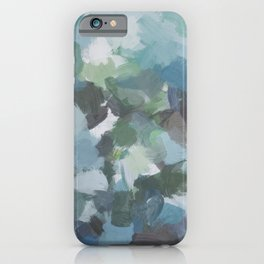 Mint Aqua Navy Indigo Sage Lime Green Abstract Nature Painting, Modern Wall Art Print, Leaves Sky iPhone Case