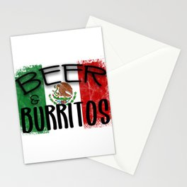 Beer Burritos Quote Mexican Pride Culture Flag Celebrate design Stationery Cards