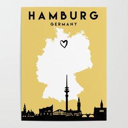 HAMBURG GERMANY LOVE CITY SILHOUETTE SKYLINE ART Poster