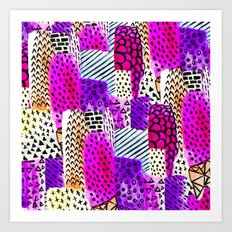 Modern pink watercolor abstract geometric hand painted pattern Art Print