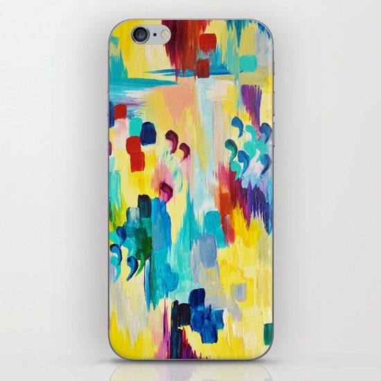 DONT QUOTE ME Whimsical Rainbow Ikat Chevron Abstract Acrylic Painting Magenta Plum Turquoise Gift iPhone & iPod Skin
