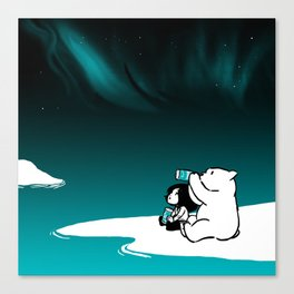 Icelandic bear, aurora borealis Canvas Print