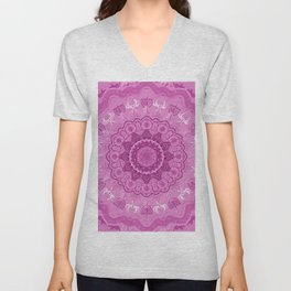 chanukkah-mandala-angels-candelars-judaica art-Jewish Holidays-joy-light-gift-3D effect Unisex V-Neck