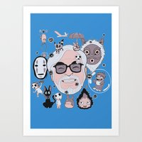 miyazaki Art Prints featuring Miyazaki Tribute by DarkChoocoolat