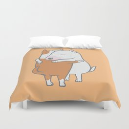 Bull Terrier Hugs Duvet Cover