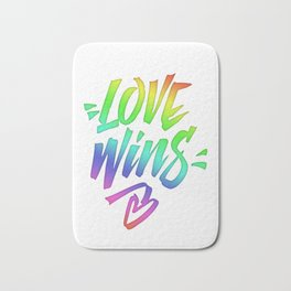 Love Wins Lettering with Rainbow colors Gradient Bath Mat