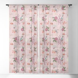 Eastern delight Japanese garden, pink. Sheer Curtain