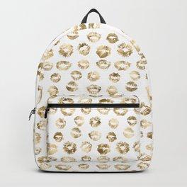 Girly Fashion Lips Gold Lipstick Pattern 2 Backpack