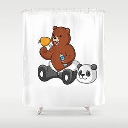 Funny Grizzly Bear Wears Panda Costume Shower Curtain