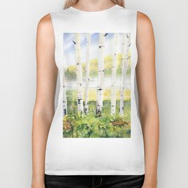 Behind The Birch Trees Biker Tank
