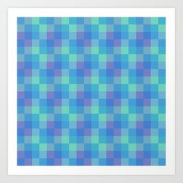 Blue and Purple Small Squares Geometric Layered Digital Pattern Art Print