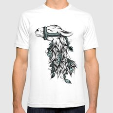 Poetic Llama  White Mens Fitted Tee SMALL