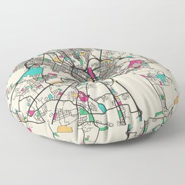 Colorful City Maps: Richmond, Virginia Floor Pillow