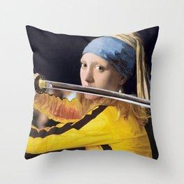 "Vermeer's ""Girl with a Pearl Earring"" & Kill Bill Deko-Kissen"